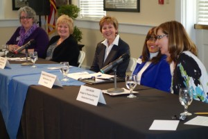 "NWHM panel ""Serving the Local Community: Women in Murfreesboro City and Rutherford County Governments,"" March 20, 2014, at MTSU.  Those pictured L to R are   Laura Bohling, Circuit Court Clerk, Rutherford County Donna Scott Davenport, Juvenile Court Judge Rutherford County Joyce Ealy, Commissioner, District 19, Rutherford County Commission Madelyn Scales Harris, Councilwoman, Murfreesboro City Council Lisa Nolen, Finance Director, Rutherford County"