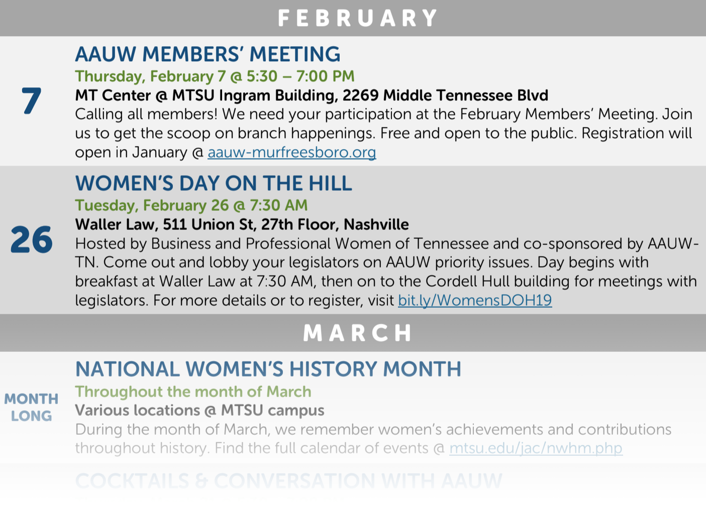 AAUW Our spring calendar is out! | Murfreesboro (TN) Branch
